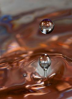 water droplets copper