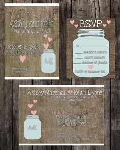 DIY Printable Custom Burlap and Mason Jar Wedding Invitation Suite. $50.00, via Etsy.