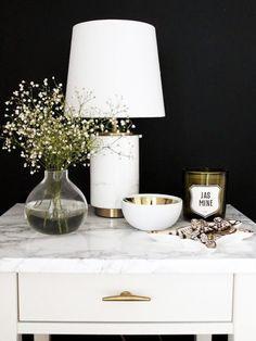 Vignette - bedside table - metallics - white