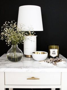 Vignette - bedside table - metallics - white