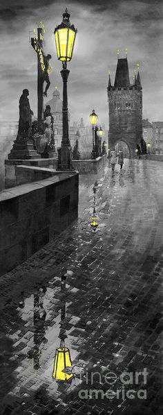 yuriy shevchuk | Bw Prague Charles Bridge 01 Painting by Yuriy Shevchuk - Bw Prague ...