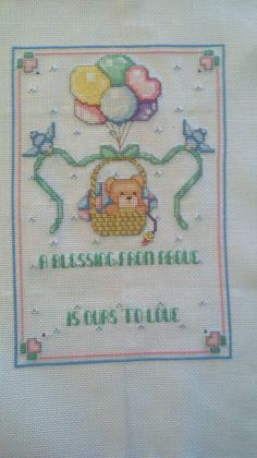 A Blessing From Above Birth Announcement by BekkisStitches on Etsy, $40.00