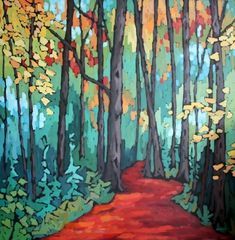 Jennifer Woodburn - Takes You to Places Landscape Quilts, Abstract Landscape, Landscape Paintings, Abstract Paintings, Tree Art, Painting Inspiration, Les Oeuvres, Art Images, Art Lessons