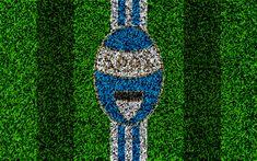 تحميل خلفيات Spal FC, 4k, شعار, كرة القدم العشب, الإيطالي لكرة القدم, الأزرق خطوط بيضاء, العشب الملمس, دوري الدرجة الاولى الايطالي, فيرارا, إيطاليا, كرة القدم