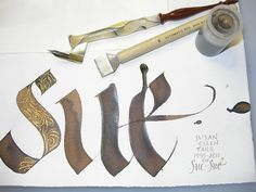 Calligraphy - Sue  Automatic Pen 6 (3/4 inch) and walnut ink.  Gold flourishes: Hunt 22 and Holbein Pearl Gold gouache mixed with Schmincke Rich Gold powder.