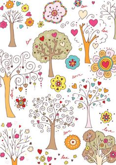 Valentines Day scrapbook paper - white trees
