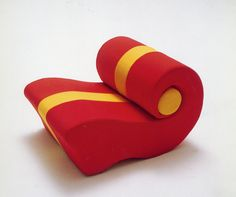 Chiocciola 1972 Linear seat that can be composed in a neverending sofa, flexible polyurethane foam; removable cover in elastic or rigid fabric.