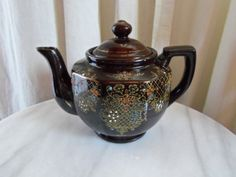 Tea Time Teapot-Brown Glazed and Embossed from Japan