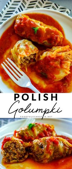 Golumpki or Gołąbki are Polish cabbage rolls that are stuffed with a mixture of beef, pork, rice, and seasoning. Casserole Recipes, Meat Recipes, Dinner Recipes, Cooking Recipes, Healthy Recipes, Polish Food Recipes, Quiche Recipes, Kitchen Recipes, Easy Cooking