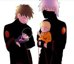 Kakashi and Naruto & Tenzou and Sai
