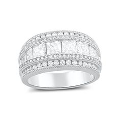 Sterling Silver Wide Square Cut Cz Statement Ring (Size 4 - 9) * Want additional info? Click on the image.