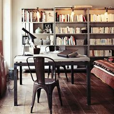 Industrial book shelves with lighting