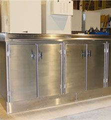 manufactures a number of products and instruments like cabinets, sinks, countertops, tables, carts and more used in clean room environments. French Door Refrigerator, Countertops, Custom Design, Sink, Engineering, Kitchen Appliances, House Design, Cleaning, Room
