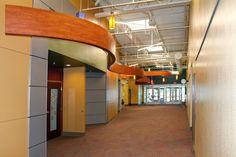 "Success Academy South Bend - Main Hallway ""Noodles"" : Educational Facility Design using Precast Concrete & Conventional Steel Construction - 105,000 sq. ft. / Two-stories - Design-Build ""Fast Track"" Adaptive Renovation : Architecture | Interior Design | Construction | Design-Build | Panzica Building Corporation"