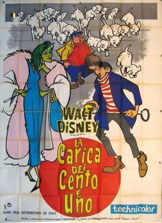La Carica dei Cento e Uno, prima edizione italiana, distr. RANK, 1961, 4 fogli (140x200 cm).