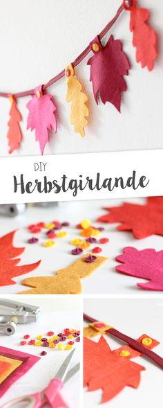 DIY-Anleitung und Printable für eine schöne Girlande aus Filz und Snaply-Druckknöpfen als Herbstdekoration