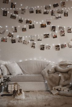 It's that time of the year! The lights go up, and this year, we're doing another photo wall! Room Ideas Bedroom, Bedroom Wall, Bedroom Photo Walls, Bedroom Decor, Photo Wall Decor, Bedroom Pictures, Wall Decor With Pictures, Photos On Wall, Hanging Photos