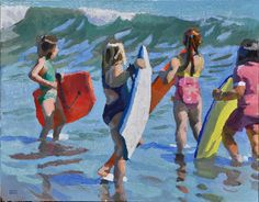 "Peggy Kroll Roberts ~ ""Girls with Boogie Boards"""