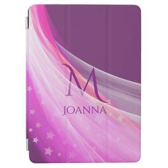 Monogrammed and girly feminine purple chiffon star iPad air cover #customizable #custom #gift #gifts #her #pink #feminine #stars #monogram #name #cool #unique #best #trendy #modern #fashion #zazzle