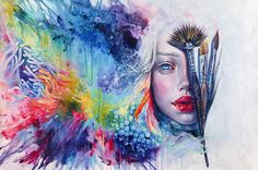 Coralized - Print / Tanya Shatseva, woman watercolor painting with sea coral in rainbow colors. Spectacular painting!
