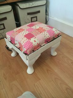 Still some work to do but this stool was red fabric and dark brown wood. Upcycled from old fabric and paint
