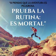 """""""Si piensas que la aventura es peligrosa, prueba la rutina: es mortal"""" #frases #motivación #viajes"""