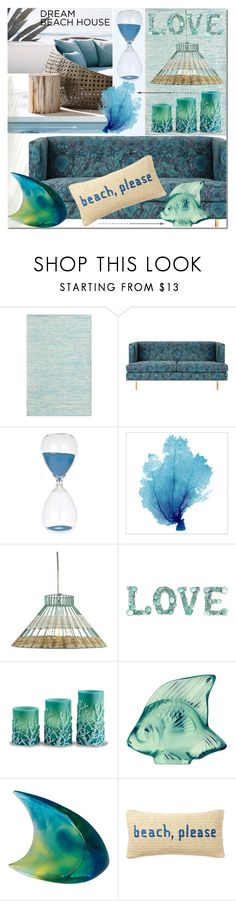 """""""Dream Beach House"""" by elena-777s ❤ liked on Polyvore featuring interior, interiors, interior design, home, home decor, interior decorating, Holly's House, Shoreline, Lalique and Nordstrom Rack"""