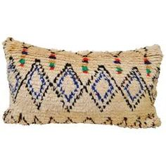 Custom Pillow Cut from a Hand Loomed Wool Moroccan Vintage Azilal Rug