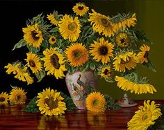 """Christopher Pierce -""""Sunflowers in a Peacock Vase"""""""