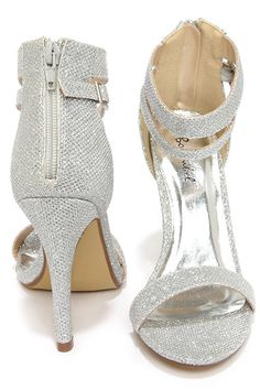 Lupid 2 Silver Glitter Ankle Strap Heels at Lulus.com!
