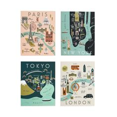 Assorted City Map Set - 8 Cards