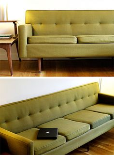by ali smith vintage couch with mackbook Wow close to mine sofa! Retro Furniture, Furniture Design, Sofa Design, Mid Century House, Mid Century Furniture, Sofa Set, Home Living Room, Cottage, Decoration