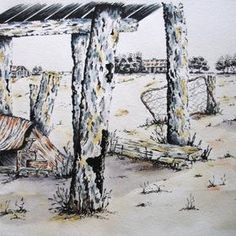 For Sale. A pen, ink and watercolour original artwork of The Gascoyne, a remote part of Western Australia by Judy LaMonde - see more on her gallery www.artinnvesta.com/artist/36. Australia, outback, pen and ink, artinvesta, artist, art for sale, original art,