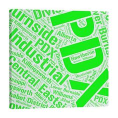 East Urban Home Polyester Districts Word Art Tapestry Colour: Green, Size: H x W, City: Portland