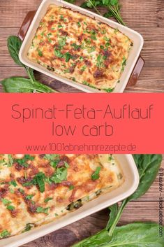 Spinach feta casserole low carb: quick and healthy recipe spina . - Spinach feta bake low carb: quick and healthy recipe Spinach feta casserole low carb - Veggie Recipes, Low Carb Recipes, Healthy Recipes, Easy Dinner Recipes, Breakfast Recipes, Breakfast Casserole, Law Carb, Queso Feta, Low Carb Casseroles