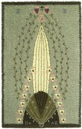 Ruusu (Rose) rya/cloth rug designed by Eliel Saarinen from the times when a designer handled the whole scene from arts & crafts to architecture. Simple Geometric Designs, Rya Rug, Art Nouveau, Art Deco, Ribbon Work, Arts And Crafts Movement, Rug Hooking, Textile Art, Home Art
