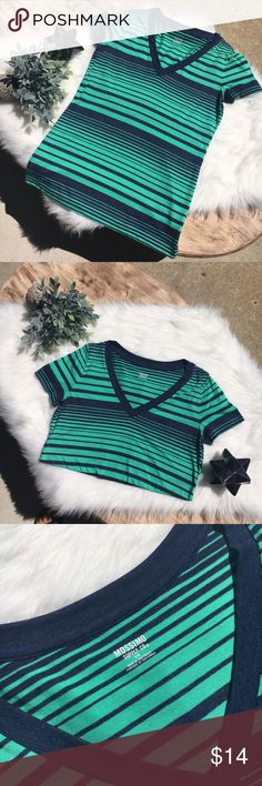 NWOT Teal & Navy V Neck T-Shirt New without tags, never worn t-shirt. Stunning summer colors in this tee will make any outfit pop! Size L.                                                                                                  ✅ Offers encouraged  🛍 Bundle to receive 10%+ discount  💌 Same or Next business day shipping  ❌ No trades Tops Tees - Short Sleeve