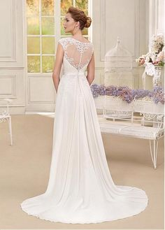 Buy discount Modest Tulle & Chiffon Bateau Neckline A-line Wedding Dresses With Lace Appliques at Dressilyme.com
