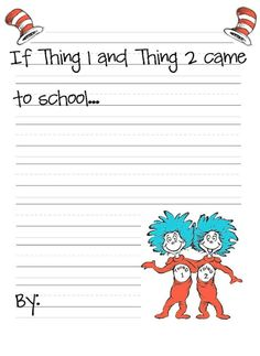 thing 1 and thing 2 writing - Google Search Dr. Seuss, Dr Seuss Week, 1st Grade Writing, Kindergarten Writing, Teaching Writing, Student Teaching, Literacy, Teaching Ideas, Writing Skills