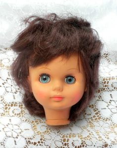 vintage doll head doll making supply blue eyes brown by brixiana, $13.00