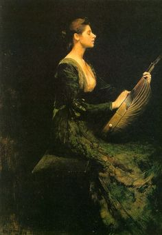 Lady with a Lute (1886) by Thomas Wilmer Dewing