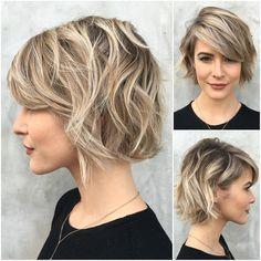 cute short bob hairstyle with bangs 2017