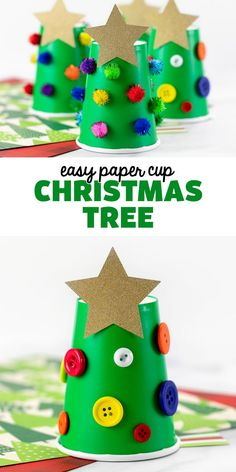 Paper Cup Christmas Tree - Kids LOVE this easy Christmas tree craft! It's absolutely perfect for preschool and can be made with craft supplies from the Dollar Tree! Don't forget to save this fun idea for the holidays. 🎄 School Christmas Party, Christmas Cup, Christmas Tree Crafts, Little Christmas Trees, Pine Cone Christmas Tree, Preschool Christmas, Toddler Christmas, Simple Christmas, School Holidays