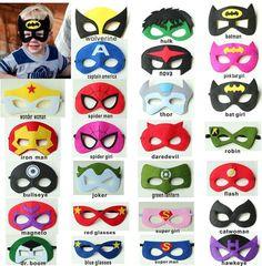superhero masks with a kid wearing one Avengers Birthday, Superhero Birthday Party, Superhero Party Favors, Superman And Spiderman, Superman Mask, Hulk Mask, Batman Robin, Halloween Party Kostüm, Halloween Costumes