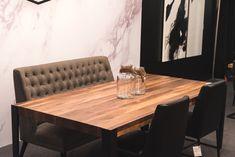 TABLE ST-IRÉNÉE - NOYER - NATURELLE - GRADE B - 84'' X 42'' - MERIDIAN - CHAISES MARVIN  #surmesure #lusine #table #stirenee ##noyer #naturelle #meridian #chaise #banquette #marvin