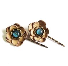 Leather flower bobby pin hair pin  set of 2 by agatechristina, $10.00
