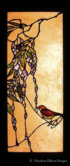 Bird on Wisteria Vine - leaded glass window by Theodore Ellison