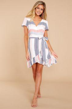 c715d4347c Delightful Multi Striped Dress - Wrap Dress - Printed Dress - $48.00 – Red  Dress Boutique