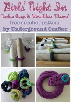 Crochet Napkin Rings and Wine Glass Charms