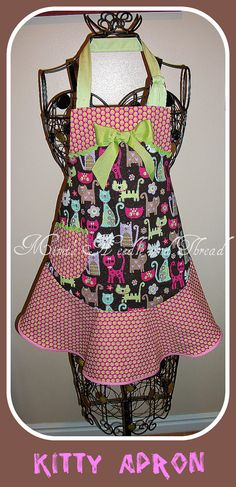 Kitty handmade child's apron by mimisneedle on Etsy, $22.95
